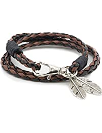 Vikings - Pulsera trenzada tribal de cuerda con colgante de plumas