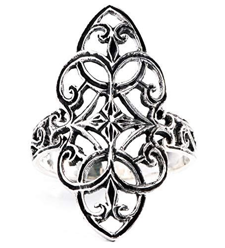 WINDALF Mittelalter-Ring FINJA h: 2.5 cm Zarte Ornamentik 925 Sterlingsilber (Silber, 60 (19.1))
