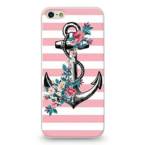 Coque Iphone 5C Ancre Marin raye rose blanc fleur liberty