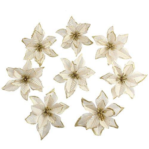 Amajoy, fiori finti con glitter, fiori ornamentali per natale o per matrimoni, 12 pezzi, 14cm gold
