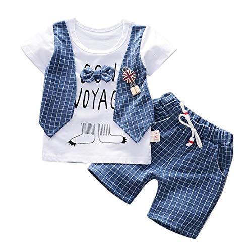 Happy Event Kleinkind Baby Jungen Gentleman Bogen T-Shirt Tops Shorts Hosen Outfits Kleidung Set (Blau, 18-24Months-L)