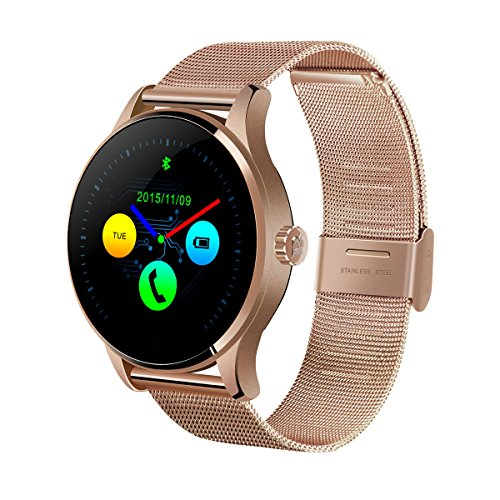 NICERIO Smart Watch Round IPS Touch Screen Bluetooth Wristwatch Support Heart Rate Monitor Pedometer(Rose Gold)