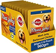 Pedigre Meat Jerky Adult Dog Treat, Barbecued Chicken, 12 Packs (12 X 80g)