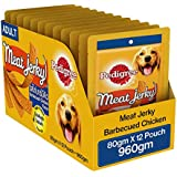 Pedigree Meat Jerky Adult  Dog Treat, Barbecued Chicken, 12 Packs (12 x 80g)