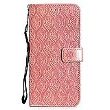 DENDICO Funda LG G7, Premium Flip Libro Cuero Carcasa, Carcasa PU Leather con TPU Silicona Protección Carcasa para LG G7 - Rosa
