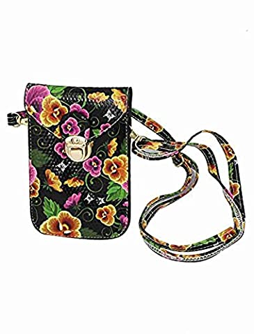 Move&Moving(TM) Faux Leather Flower Printed Push Lock Closure Cross-Body Purse