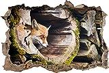 Pixxprint 3D_WD_S2590_62x42 versteckender Fuchs im Baumstamm Wanddurchbruch 3D Wandtattoo, Vinyl, Bunt, 62 x 42 x 0,02 cm