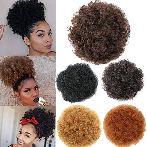 Kordelzug Haarteil (Afro Dutt Extensions, Puff Pferdeschwanz Chignon Haarteil mit Kordelzug Afro Kinky Curly Wrap Chay Updo Synthetik für schwarze Frauen)