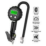 POMILE Digital Tyre Inflator with Pressure Gauge 200 PSI Accurate Tyre Gauge with Air Chuck and Compressor Accessories Heavy Duty with Rubber Hose, 90 Degree Valve Extender, Quick Connect Coupler for Car, Truck, SUV, Bike, RV