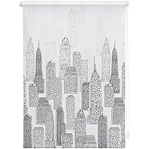 Rollo Klemmfix Big City - Estor retráctil (45 x 180 cm), diseño de rascacielos, color blanco y gris