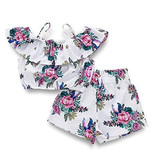 kind Kinder Baby Mädchen Outfits Weiß Blumen Printing Von der Schulter Tops mit Gedruckte Shorts Set Outfits Sommer Kleidung ()