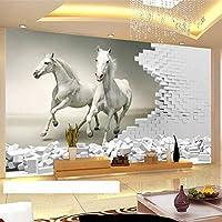 NMW Art Murals - Mural de Pared, diseño de Caballo Blanco estereoscópico, Ver Imagen, 1 ㎡