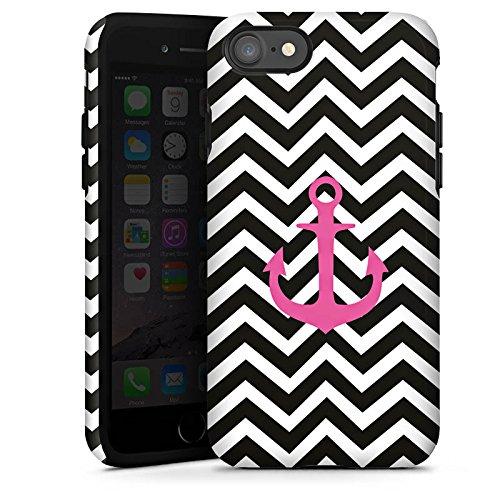 Apple iPhone X Silikon Hülle Case Schutzhülle Zickzack Maritim Anker Tough Case glänzend