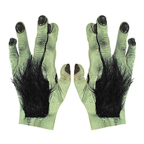 Amakando Frankenstein Handschuhe Monster Hände Latex, EIN Paar Werwolf Krallen Bestie Klauen Zombie Pranke Halloween Verkleidung