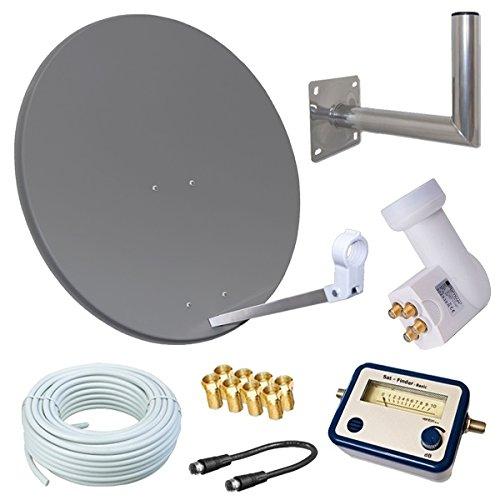 HD Sat Anlage 80cm Spiegel + Opticum Quad LNB für 4 Teilnehmer + 50m Kabel + 40cm Wandhalter + SAT FINDER (3 Farben wählbar)