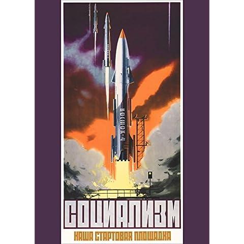World of Art - Lámina de cartel de propaganda espacial soviética con mensaje en ruso