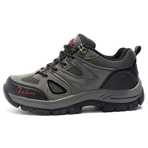T-Gold Men's Low Rise Hiking Shoes,Outdoor adventure Waterproof Trekking shoes(5 UK,gray)