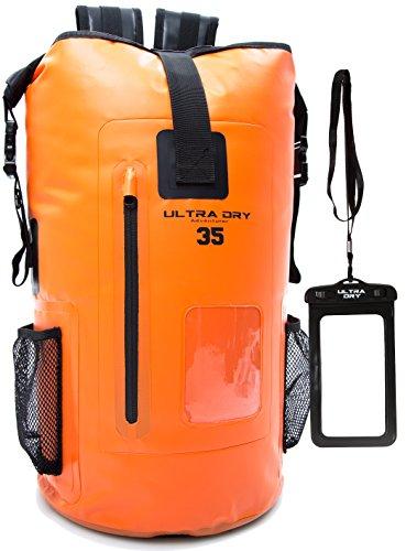 Premium-Rucksack, mit Telefon-Trockenbeutel, wasserdicht, perfekt für Boot-/Kajak-/Kanufahren, Angeln, Rafting, Schwimmen, Camping, Snowboarden, Orange, 35 L Wildwasser-kajak-ausrüstung
