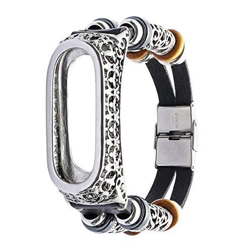 Upxiang Ersatzarmband für Xiaomi Mi Band 3, Smart Watch Armband Sport Uhrenarmband Bracelet Leder Band Strap + Metall Case - Herren-erweiterbar-uhr Bänder