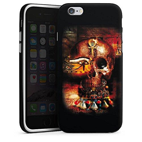 Apple iPhone X Silikon Hülle Case Schutzhülle Totenkopf Ägypten Symbol Silikon Case schwarz / weiß