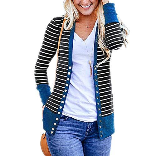 T.Mullen Damen Strickjacke Casual Gestreift Cardigan Outwear Streifen Strickpullover Blau M