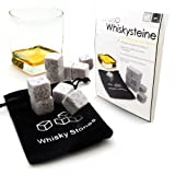 Pierres à whisky en stéatite, glaçons de pierre, pour rafraîchir des boissons (whisky, rhum, cognac), livrées avec un petit sachet de rangement, couleur: tacheté dans les tons blancs et gris, de la marque Ganzoo – lot de 9 pierres