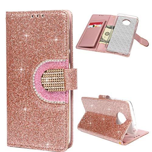 Edauto Motorola Moto G6 Plus Hülle Case HandyHülle Leder Flipcase Glitter Diamant Mehrfache Karte Spiegel Schutzhülle Bookstyle Brieftasche Ständer Kartenfächer Magnetverschluss Tasche Roségold