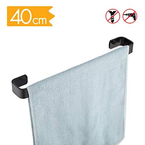 KES A4300-P Handtuchhalter aus Aluminium zum Aufhängen an der Wand ohne Bohren, A4300S40DG-BK-20190412, matte black, 40CM -