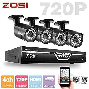ZOSI 720P Sicherheit Kamera System 4CH AHD DVR mit 4Stk. Indoor/Outdoor 720P HD Überwachungskamera 30m IR Nachtsicht Kamera, 3,6mm Linse, Handy-Zugriff via QR-Code, Ohne HDD