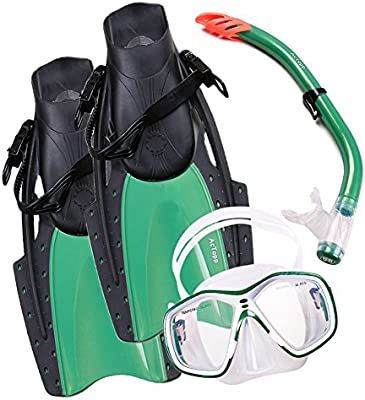 AcTopp Packs de Buceo Aletas de Buceo+Gafas de Buceo+Tubo Respirador Semiseco Snorkel Natación Accesorios para buceo Unisex Color Verde