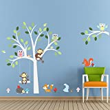 Impermeable extraíble búho Monkey Tree Nursery Wall Decal Sticker Dormitorio