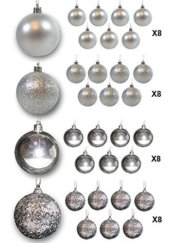 Banberry Designs Christmas Ball Ornaments - Silber Ball Ornaments - 32 Stück - Silber Satin - Silber glänzend - Silber Glitzer - Bruchsichere Ornaments - Silber Weihnachtsschmuck