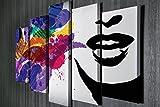 LaModaHome Deko Leinwand Wandbild 5Pcs (104,1x 68,6cm Gesamt) Holz Dick Rahmen streichen Bunte Frau Pinsel Lip Kisses Romantic Weiß Hintergrund Multi Varianten in Store.