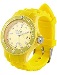 St. Leonhard Silikon Uhr: Sportliche Silikon-Quarz-Armbanduhr, Lupen-Mineralglas, sonnengelb (Uhr)