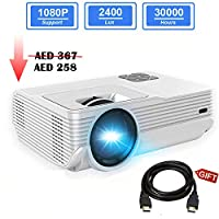 GIMISONIC Projector,2400 LUMENS Mini LED Projector Video Projector, Compatible with TV Box, PS4, DVD Player, Smartphones Perfect for Home Theater Indoor Outdoor Movies Video Games