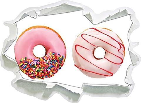 Glazed Donuts, paper 3D wall sticker size: 62x45 cm wall decoration 3D Wall Stickers Wall (Fragola Caffè Aromatizzato)