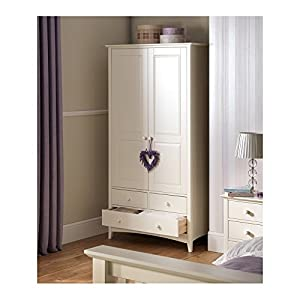 Julian Bowen cameo childrens combination wardrobe in stone white finish Happybeds Height: 82 cm, Width: 80 cm, Depth: 40 cm; Modern mirrored bedroom chest of drawers Elegant and ergonomic crystal style handles 3 deep storage drawers perfect for clothes, towels or bedding 8