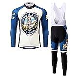 Thriller Rider Sports® Uomo Cheers for Being Blue Abbigliamento Ciclismo Magliette Manica Lungo e Pantaloni Tuta Small