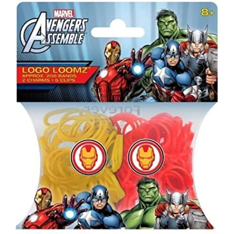 Hit Entertainment Licensed Logo Loomz Filler Loom Bands & 2 Charm Pack - Disney, DC Comics & More! (Marvel Ironman) by Forever Collectibles
