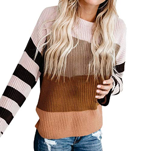 LILIHOT Frauen O-Ansatz Sweatshirt Gestreifte Langarm Bluse Farben Block Strickjacke Patchwork Strickwaren Plus Size Pullover Oberseiten Lose Casual Warmes Sweater