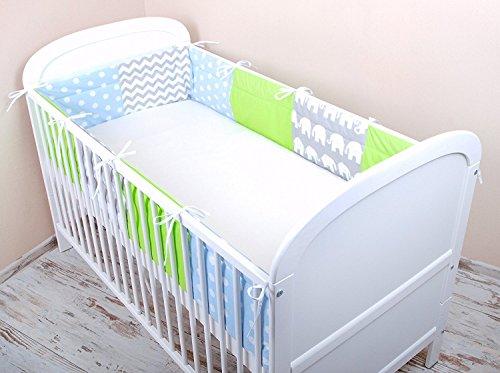 Amilian® Bettumrandung Nest Kopfschutz Nestchen 420x30cm, 360x30cm, 180x30 cm Bettnestchen Baby Kantenschutz Bettausstattung MIX A2 (420x30 cm)