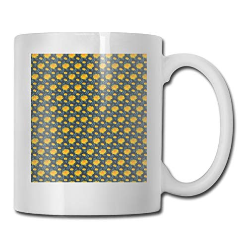 Jolly2T Funny Ceramic Novelty Coffee Mug 11oz,Yellow Chrysanthemum Blossoms On Dark Backdrop Natural Ornament,Unisex Who Tea Mugs Coffee Cups,Suitable for Office and Home Blossom Demitasse Cup