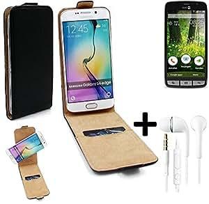 TOP SET pour doro Liberto 825 Case Smartphone Cover Flip Style Housse de Protection 360° Sacoche pour doro Liberto 825 noir + Écouteurs - K-S-Trade(TM)