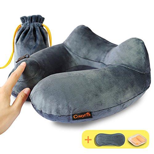 Almohada Inflable para el Cuello,CrazyFire Almohadas de Aire de Viaje,