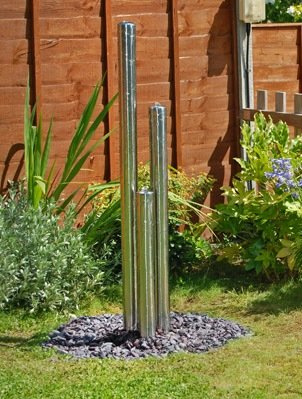 3ft (0.85m/65cm) Standard Three Tiered Tubes Water Feature With Lights on Base by Primrose