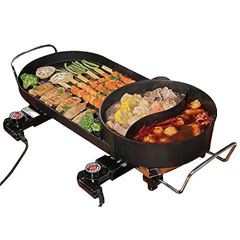 Gril électrique Accueil Sans fumée Plaque de cuisson électrique Usure par frottement Machine de barbecue Teppanyaki Canard mandarin 1500W , 66*27cm