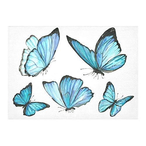 Natur Aquarell Blauer Schmetterling Fly Free Custom Baumwolle Leinen Printed Square Fleck Beständig Tischwäsche Tuch Abdeckung Tischdecke Für Küche Home Esszimmer Tischplatte Decor 60 X 84 Zoll (Square Marine Blau Tischdecke)