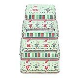 Regalo di Natale Scatola di nidificazione in latta Biscotto di Natale Quadrato Supporto assortito Vacanze a tema Barattolo di caramelle 3 Set per bomboniere Forniture Carta Cioccolato(verde)