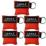 5 Stück CPR Maske Schlüsselanhänger Ring Notfall Kit Rescue Face Schilde mit Rückschlagventil Atmen Barriere für Erste Hilfe oder AED Training, leicht zu transportieren