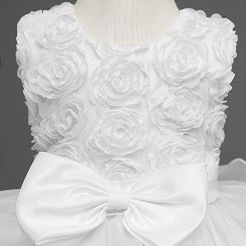 ❤️Kobay Kinder Baby Mädchen Blumen Geburtstag Hochzeit Brautjungfer-Festzug Prinzessin Abendkleid (70/0.5-1Jahr, Weiß) - 5
